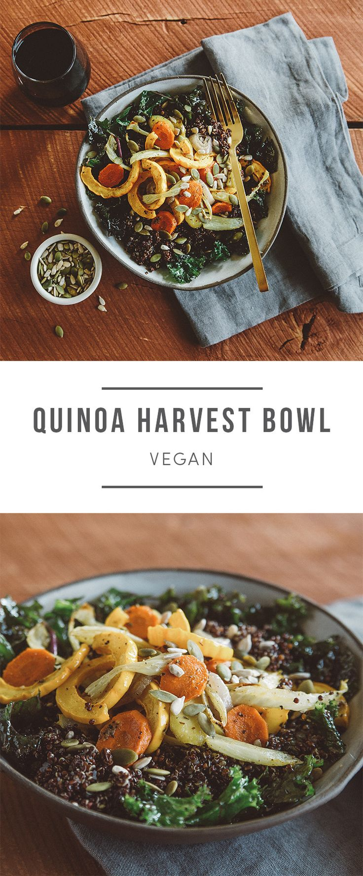 This vegan bowl is packed with protein and antioxidants. Squash, carrots, shallot, and fennel are seasoned with a sage-ginger spice blend, then roasted tender. Recipe here: https://greenchef.com/recipes/black-quinoa-harvest-bowl-with-roasted-veggies?utm_source=pinterest&utm_medium=link&utm_campaign=social&utm_content=quinoa-harvest-bowl