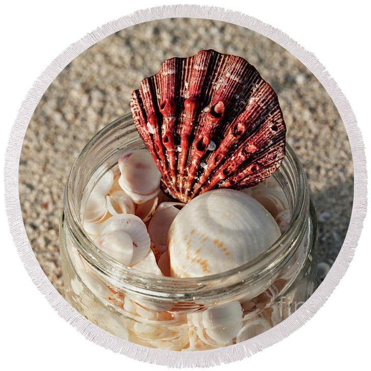 Found Seashells by Evgeniya Lystsova   Shells in a glass jar on the sand beach in Cancun, tropical landscape #EvgeniyaLystsovaFineArtPhotography #SeaShells #Shore #Coastal #Tropical #Travel #Photography #FineArtPrints #HomeDecor #Fashion #Accessories #BeachTowel
