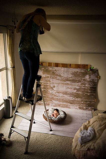 Set up to shoot a newborn photography session in natural light.