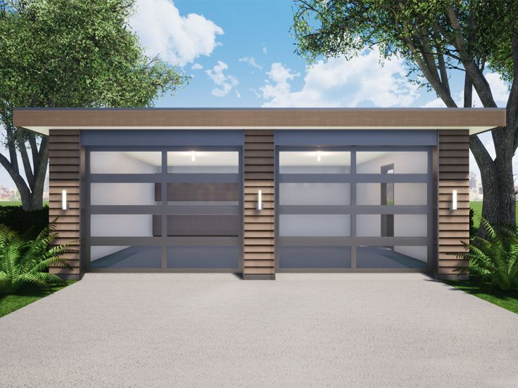 052g 0025 Modern Two Car Garage Plan In 2020 Garage Door Styles Garage Plans Building A Garage