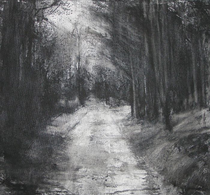 "michael wann || Artist ""Dark Avenue"", charcoal and wash on canvas, 46x46cm,"