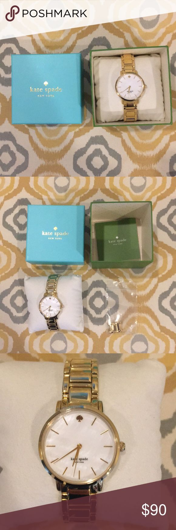 Kate spade gold watch Great condition, NEEDS NEW BATTERY, original packaging! Extra links for re-sizing. kate spade Accessories Watches
