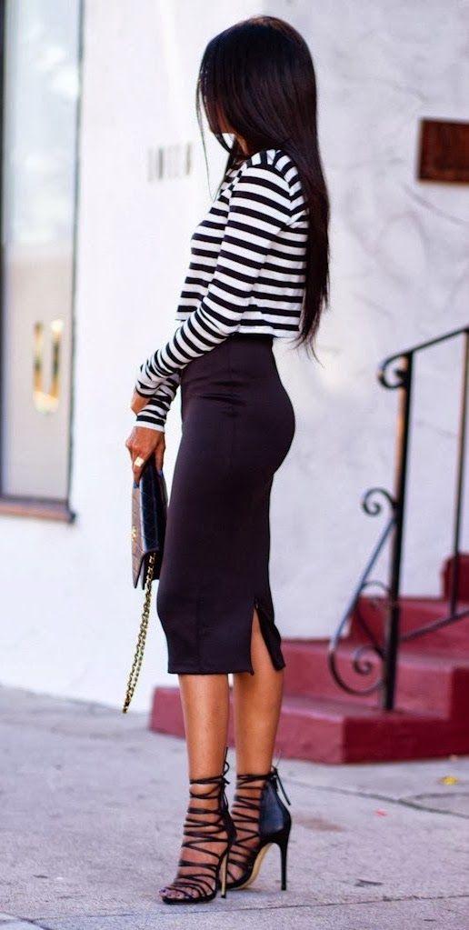 Lovely for fall stripes sleeve sweater shirt and skirt – Vialikes