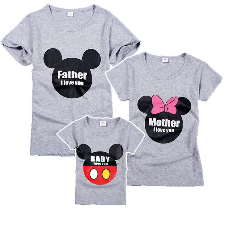 Summer Family Matching Clothes Cotton Gray T-shirt Father's size Plus to 3Xl Mother Son Outfits Matching Mother Daughter Clothes