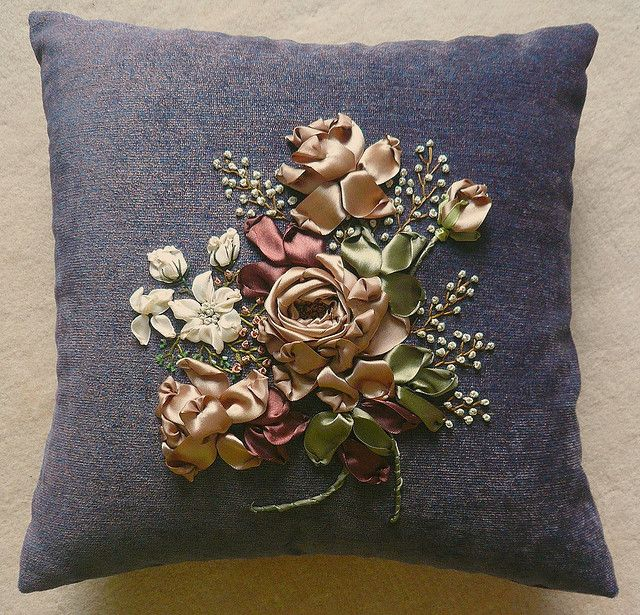 Silk Ribbon Embroidery Cushion. | Flickr - Photo Sharing!