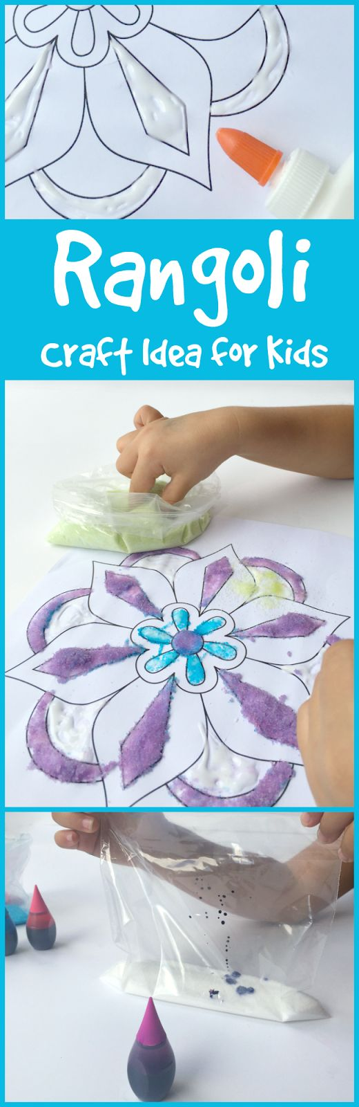 Rangoli Craft Idea for Kids for Diwali to encourage kids to learn about the world.