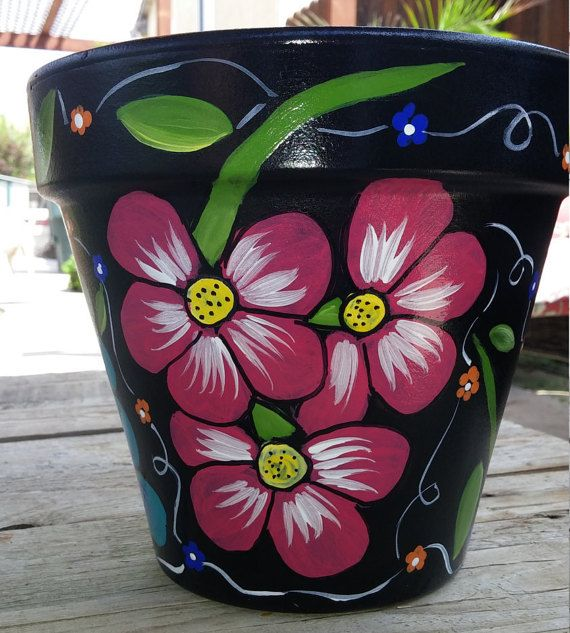 Flower pot, hand painted clay pot, pottery, Italian clay pot, planter, garden…                                                                                                                                                                                 Más