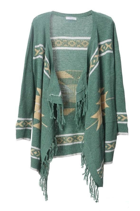 Bohemian fringed irregular cardigan green - Sheinside.com