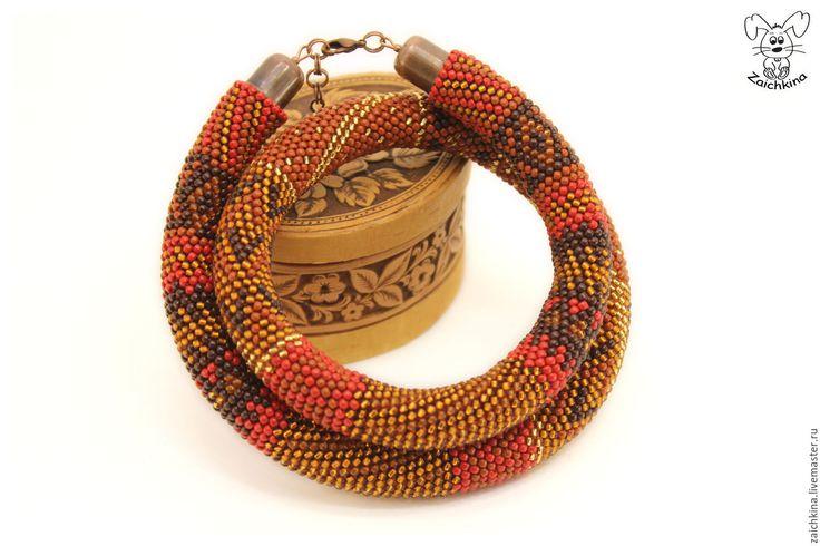 Купить Красно-коричневый жгут из японского бисера - комбинированный, коричневый цвет, красный цвет