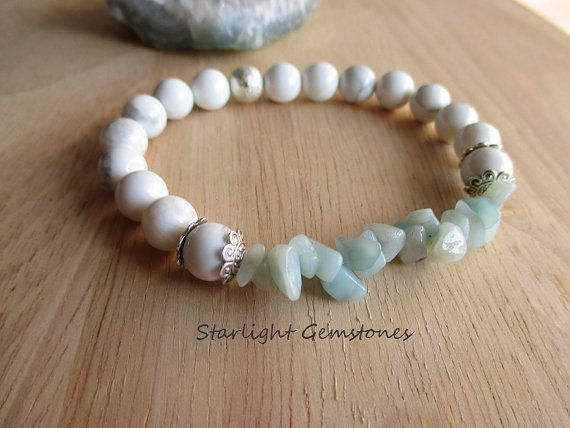 """Beach Bliss"" White Howlite with Amazonite Chips Gemstone Bracelet."