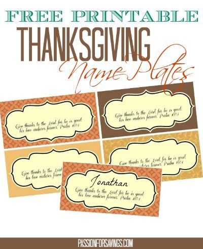 Free Thanksgiving Cupcake Toppers And Place Cards