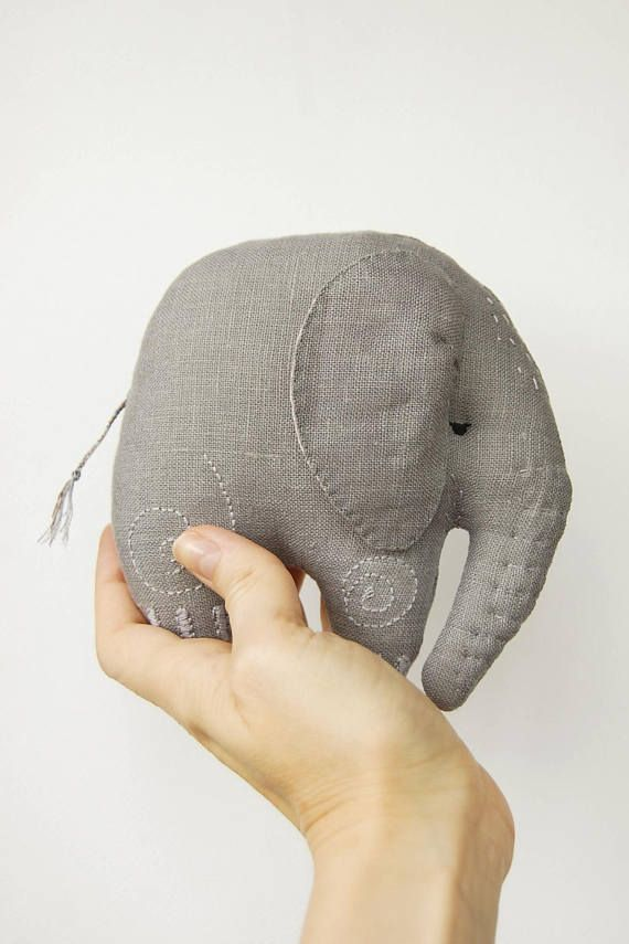 Stuffed elephant, elephant plush, Baby elephant, cute soft toy, embroidered animal, baby shower, birthday gift, baby boy gift ideas