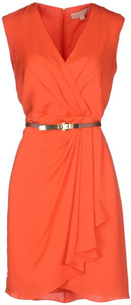 Michael By Michael Kors Short Dress in Orange (Coral) | Lyst I would want this in hot pink or emerald green!!!