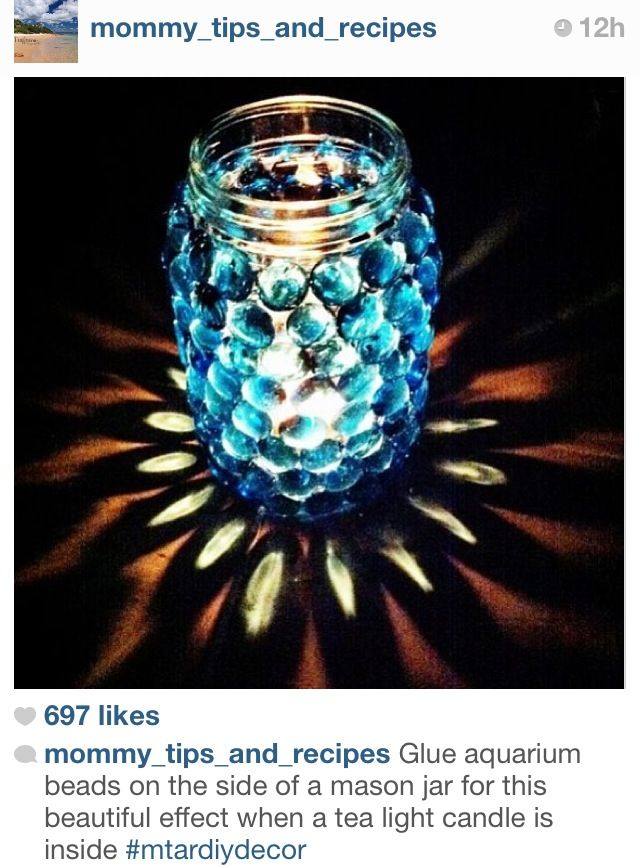 DIY Mason Jar Candle Holder - such a cool effect Hang from trees with twine & led tea light candles