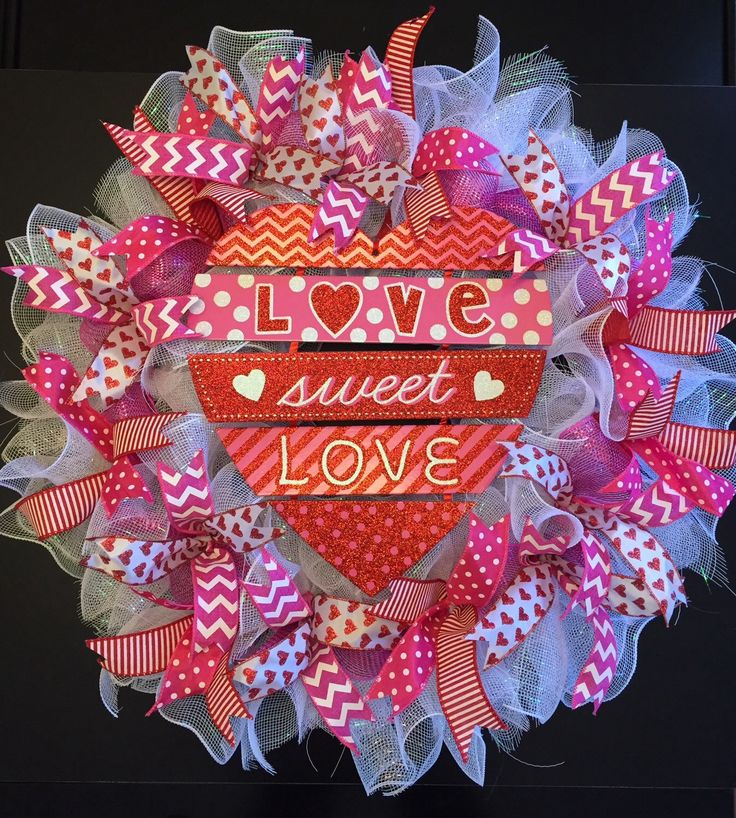 Valentines Day Wreath,  Valentine's Day Wreath, Happy Valentine's Day Wreath, Beautiful & Full Ruffled Deco Mesh Wreath by CreationsByRunco on Etsy https://www.etsy.com/listing/263963770/valentines-day-wreath-valentines-day