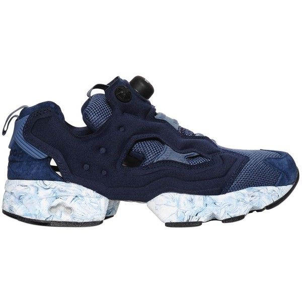 Reebok Classics Women Instapump Fury Nylon Sneakers ($175) ❤ liked on Polyvore featuring shoes, sneakers, navy, reebok sneakers, slip on sneakers, reebok trainers, navy blue sneakers and navy blue slip on shoes