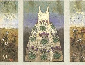 Violet Dress by Kirsi Neuvonen, printmaker from Finland