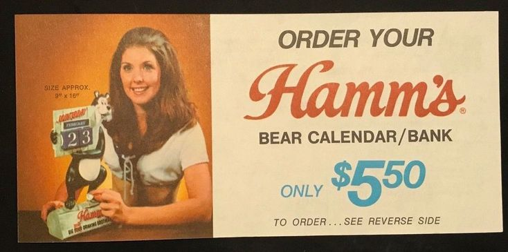Original 1970s Hamm's Beer Bear Cube Calendar Premium Order Form Unused