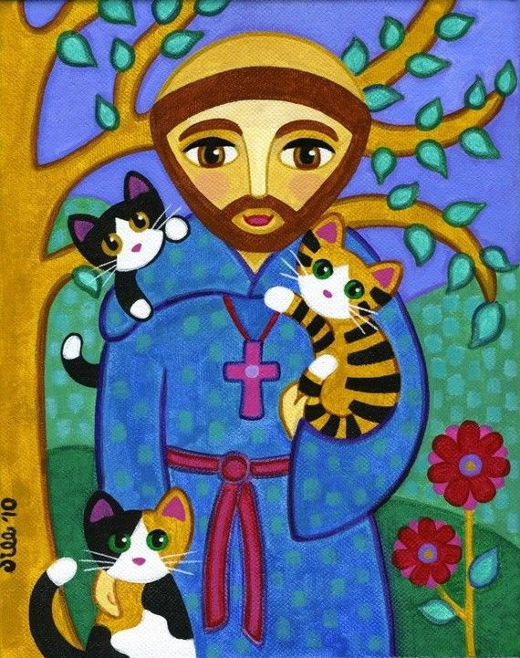 Saint FRANCIS of Assisi with CATS Folk Art PRINT by thatsmycat