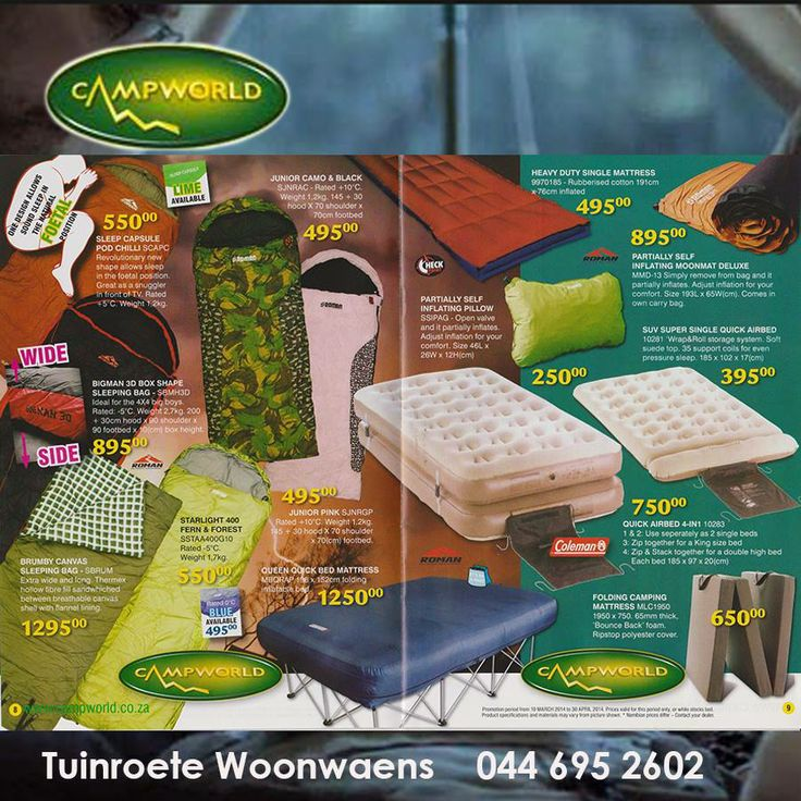 Tuinroete Woonwaens Campworld is having a mid-year clearance sale and these are just a few of the items on special offer. Be sure to keep warm this winter with one of our magnificent sleeping bags designed for all weather conditions. Visit us in Voorbaai for these and many more great offers. #camping #lifestyle #outdoorliving