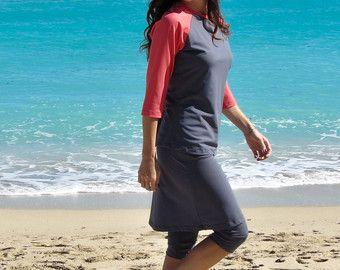 Swimskirt avec joint Capri modeste Active maillot de bain - couvre modeste UV pour les maillots de bain et vêtements de sport