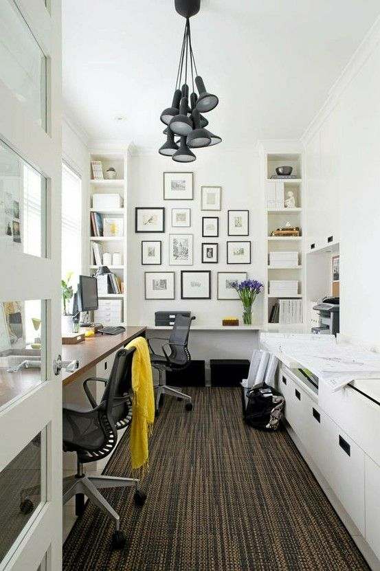 Great narrow office space, maximizing storage! drd: dayka robinson designs | More ideas here: http://mylusciouslife.com/pictures-of-home-offices-workshops-studios-workspaces-craft-rooms/