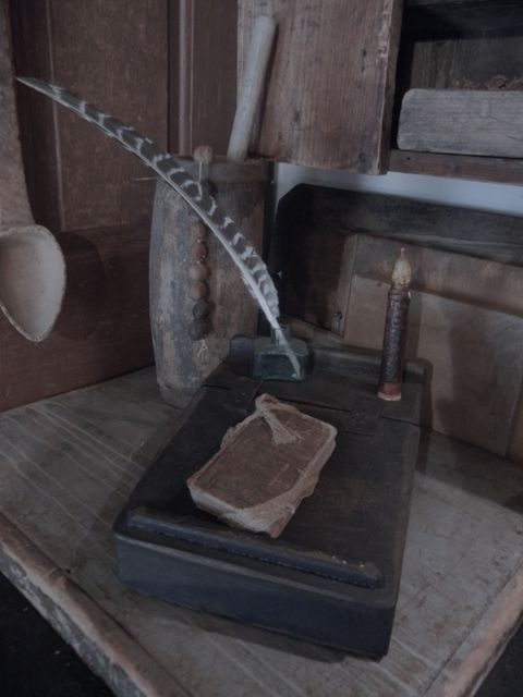 Prim Wooded Lap Desk W Feather And Candle An Old Book