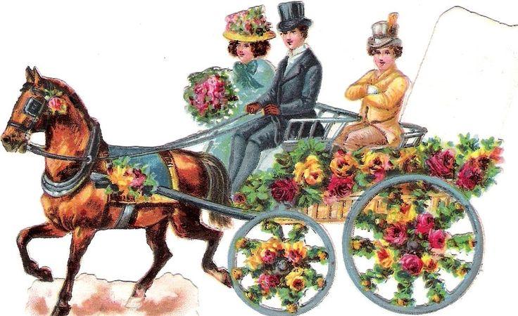 Oblaten Glanzbild scrap die cut chromo Braut Paar  13,5 cm bride mariage Kutsche