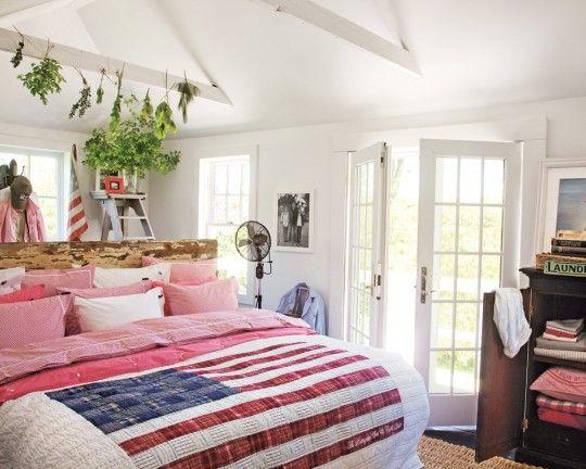 Couvre-lit avec le drapeau des Etats-Unis Lexington