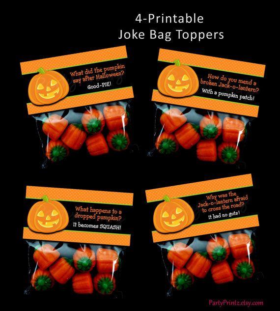 INSTANT DOWNLOAD  Printable Halloween Joke - Treat / Favor Bag Toppers by PartyPrintz.etsy.com
