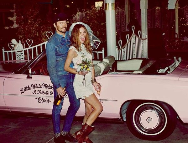 The Free People lookbook and video for March includes a faux wedding in Las Vegas for model Erin Wasson at the Little White Chapel, complete with pink Cadillac