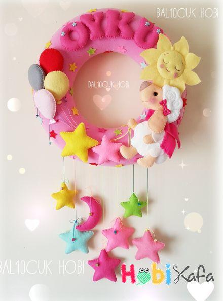 Keçeden bebek odası kapı süsü - Hobikafa.com