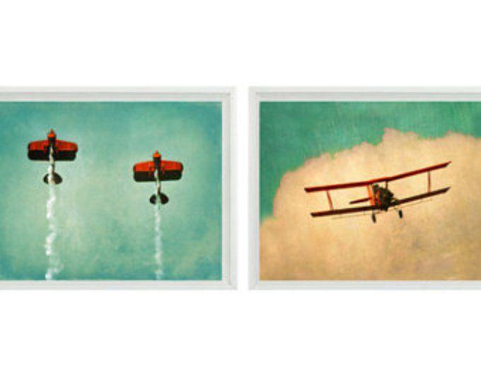 Avión Vintage Art Print Set - venta 30% de avión vivero chicos rojo Aqua biplano vuelo Aviación casa habitación decoración fotografía