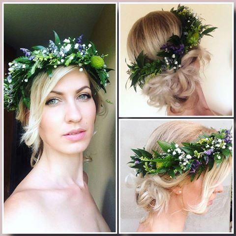 Kripavenezia make up and simple wedding wreath