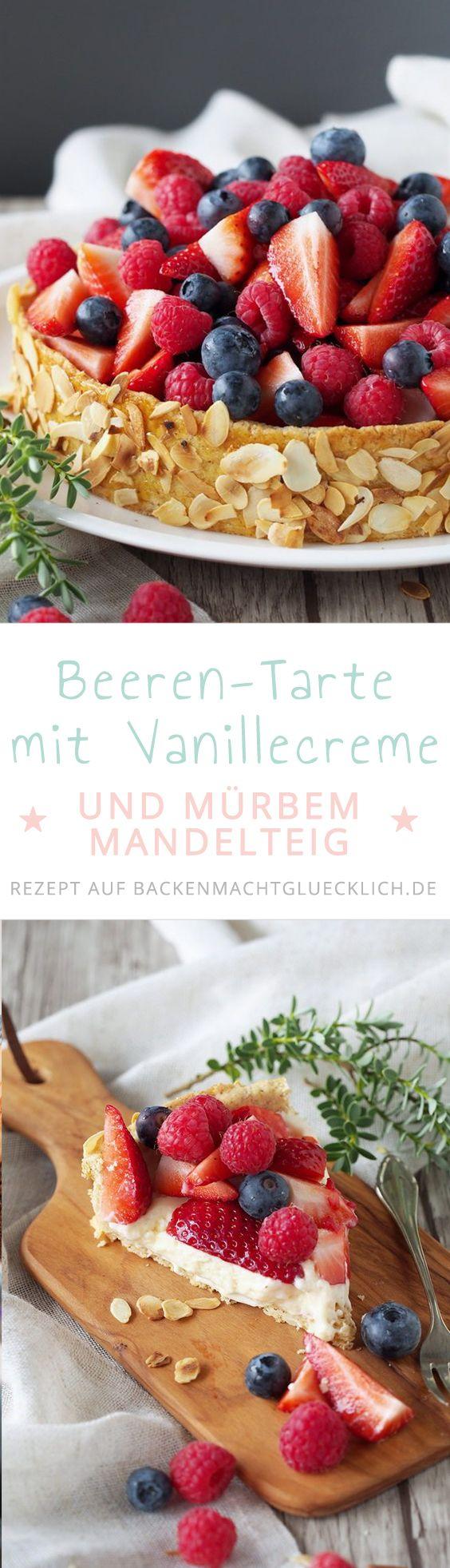 Beeren-Tarte mit Vanillemouse und Mandel-Mürbteig: Diese köstliche Mandeltarte ist ein toller Sommerkuchen für alle, die frische Beeren lieben!