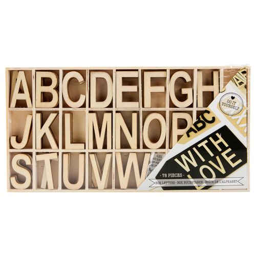 EUR 2.39 - letters in box 78st hout div.kleuren - 100 Nieuwste - Action Nederland B.V.