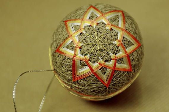 Check out this item in my Etsy shop https://www.etsy.com/listing/570652881/golden-star-on-beige-temari-christmas