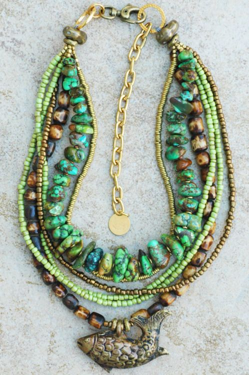Custom Exotic and Earthy Green Turquoise and Nepalese Fish Pendant Multi-Strand Necklace