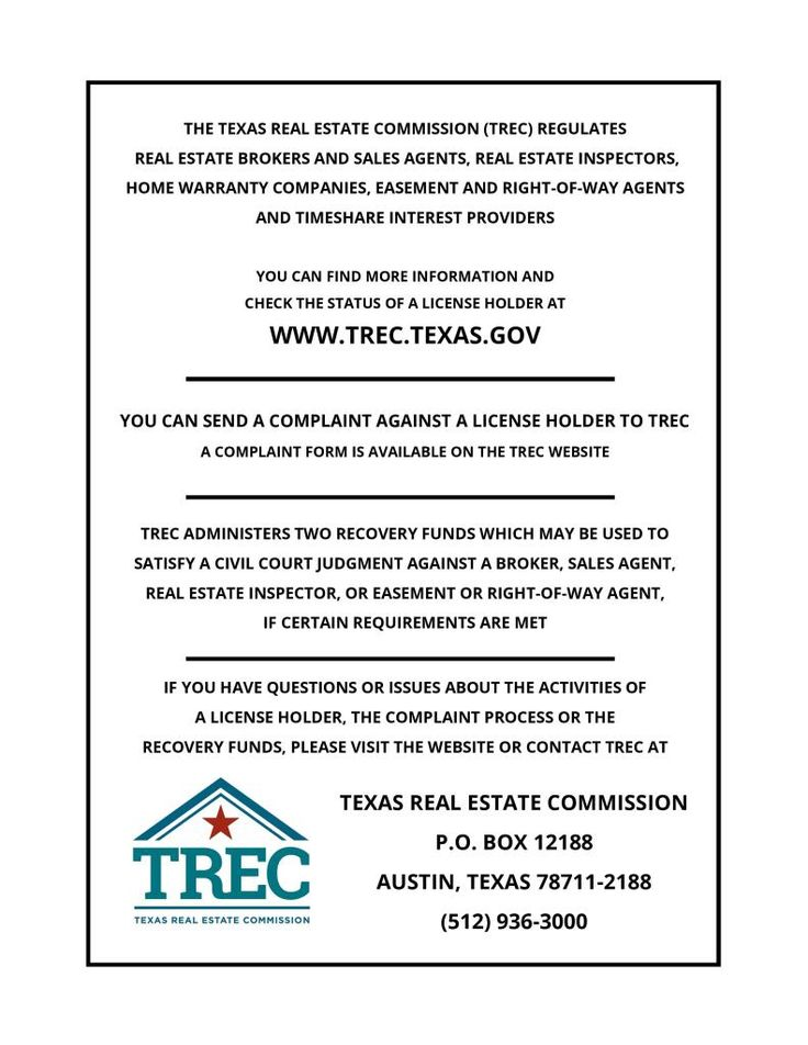 Consumer Protection Notice Texas Real Estate Consumer Protection