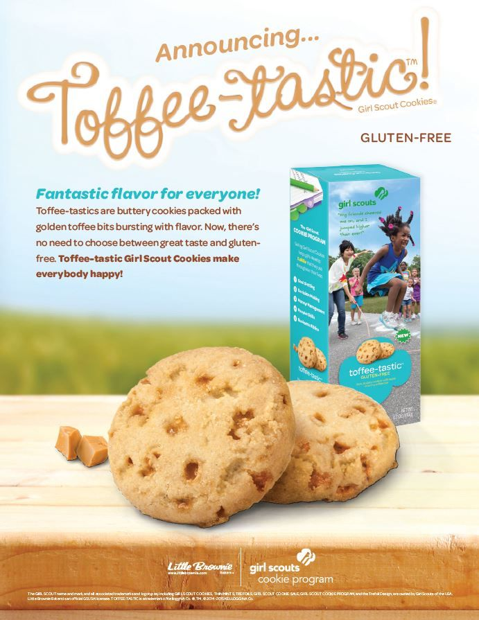 girl scouts have a new gluten free cookie called toffee