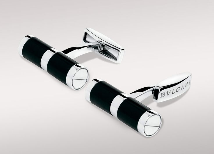 bvlgari cufflinks in 18kt white gold with black onyx