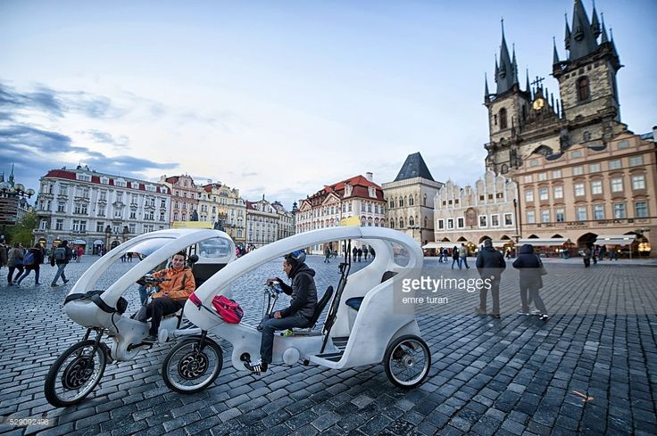 taxi bikes are among many means of transport offered to tourists in prague.the city is widespread and partly hilly and such transport solutions make life easier for visitors.