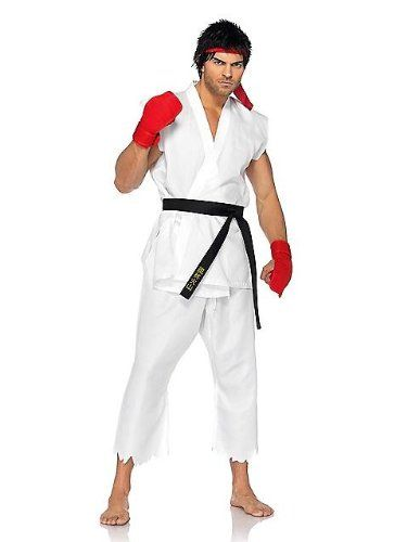 Street Fighter Ryu Costume Adult  White gi top and pants, black belt, red hand pads and matching headband. Adult men's medium/large fits sizes 42-46. Box Dimensions (in Inches) Length : 16.00 Width : 13.00 Height : 3.00 Official licensed street fighter costume A great group costume  http://www.beststreetstyle.com/street-fighter-ryu-costume-adult/