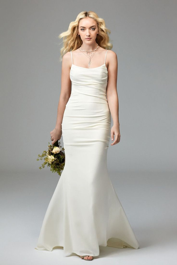 Watters Willowby Royce Royce is the perfect choice for the bride who wants clean, simple and sweet. This Stretch Satin fit-and-flare style has unique draping throughout the bodice and a scoop front and open back. Its beaded spaghetti straps add a delicate touch of sparkle. Sweep Train