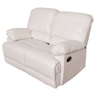 Lea White Bonded Leather Reclining Loveseat - Corliving