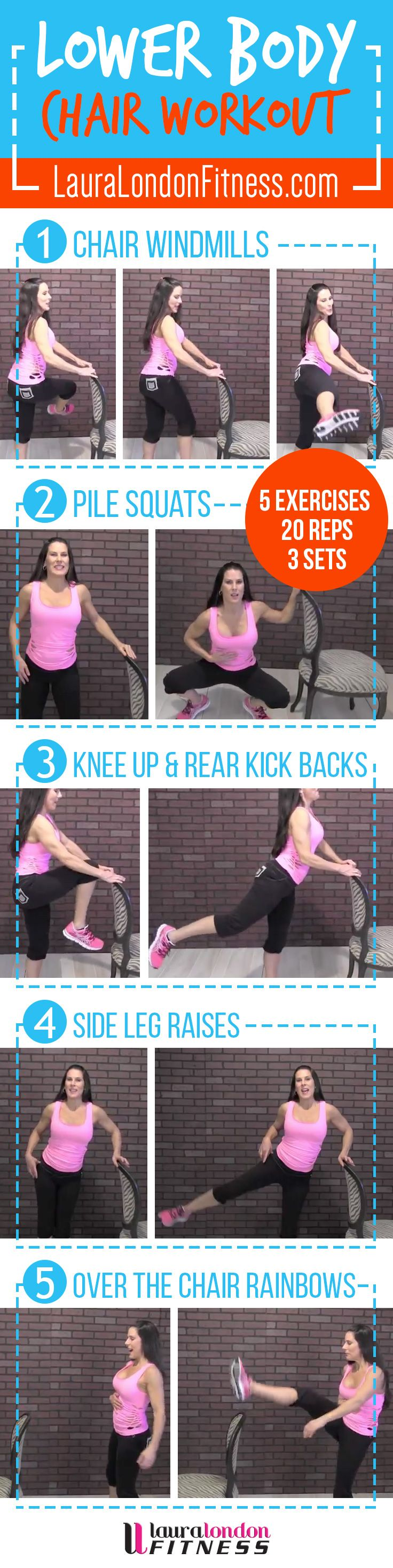 Lower Body Chair Workout Join me in a lower body workout using a chair.  You are going to love this one.  Great for a quick workout when you don't have time to get to the gym.  Full Video Here:  https://www.youtube.com/watch?v=IBclN2Gt-KY  #fitness #homeworkouts #lauralondonfitness