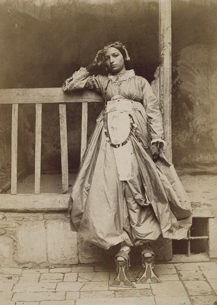 sealmaiden:Charles Lallemand ~Jewish girl from Damascus in full dress 1865  I wonder what she has on her feet?