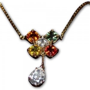 Kalung Emas Wanita Dengan Batu Safir 4 Warna