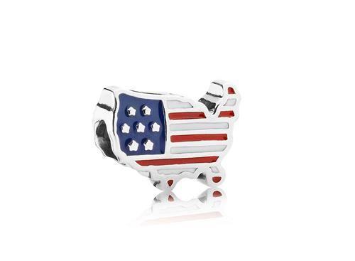 Charm de Prata e Esmalte Bandeira do Estados Unidos