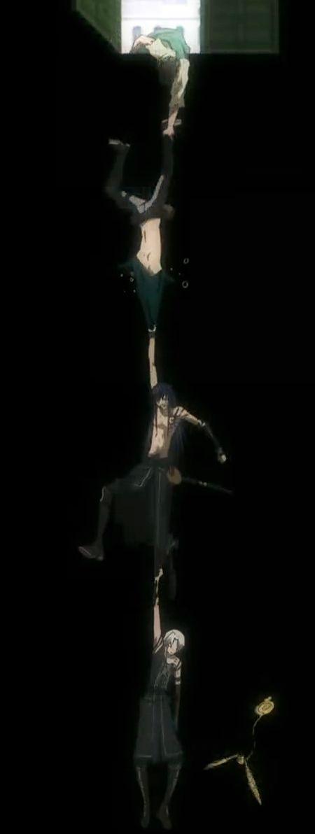 Episode 93 - Allen, Kanda + Lavi falling while Chaoji holds on - D.Gray-man IM CHOKING LOL XD